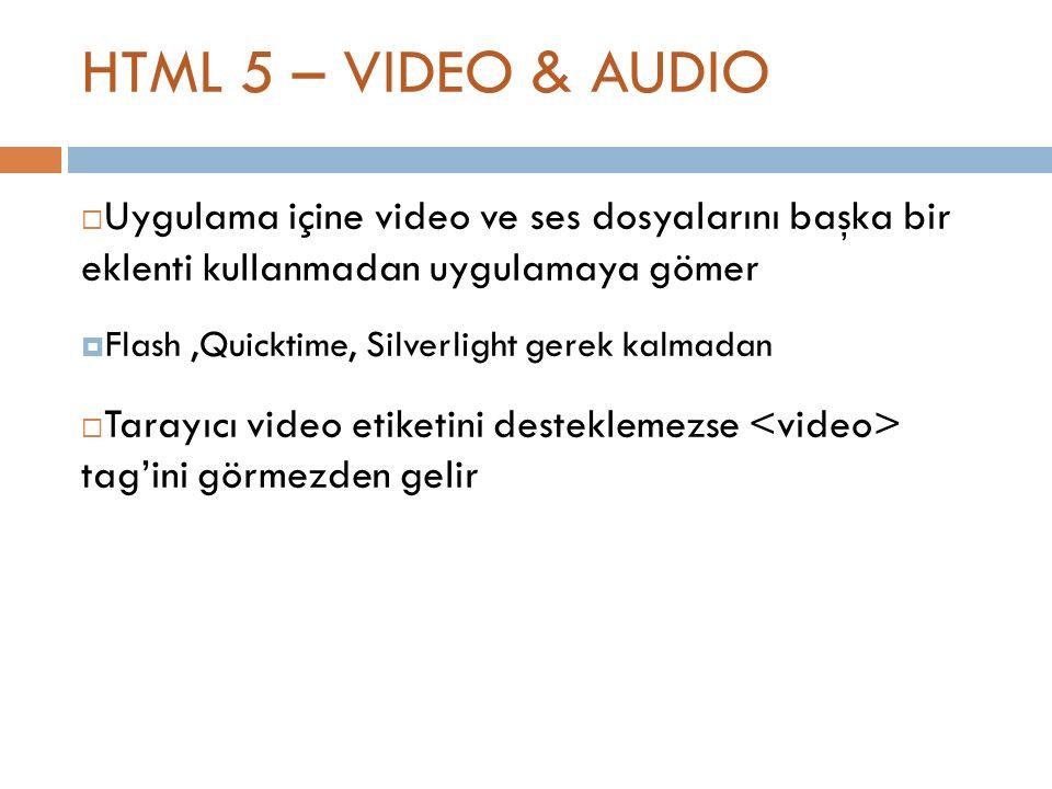 HTML 5 – VIDEO & AUDIO  Uygulama içine video ve ses dosyalarını başka bir eklenti kullanmadan uygulamaya gömer  Flash,Quicktime, Silverlight gerek kalmadan  Tarayıcı video etiketini desteklemezse tag'ini görmezden gelir