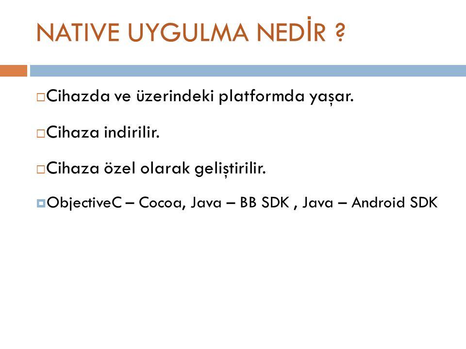 NATIVE UYGULMA NED İ R .  Cihazda ve üzerindeki platformda yaşar.