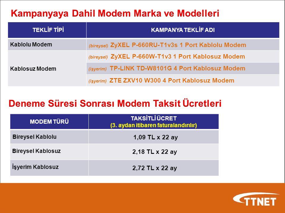 TEKLİF TİPİKAMPANYA TEKLİF ADI Kablolu Modem (bireysel) ZyXEL P-660RU-T1v3s 1 Port Kablolu Modem Kablosuz Modem (bireysel) ZyXEL P-660W-T1v3 1 Port Kablosuz Modem (işyerim) TP-LINK TD-W8101G 4 Port Kablosuz Modem (işyerim) ZTE ZXV10 W300 4 Port Kablosuz Modem MODEM TÜRÜ TAKSİTLİ ÜCRET (3.