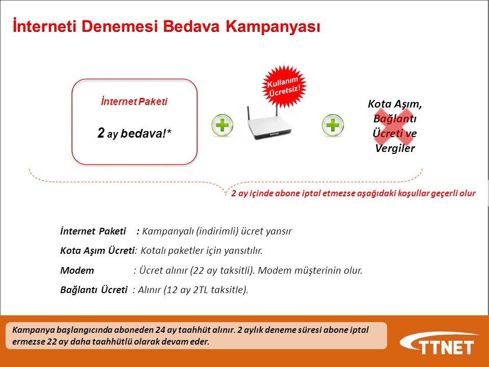 2 ay içinde abone iptal etmezse aşağıdaki koşullar geçerli olur İnternet Paketi 2 ay bedava!* Kullanım Ücretsiz.