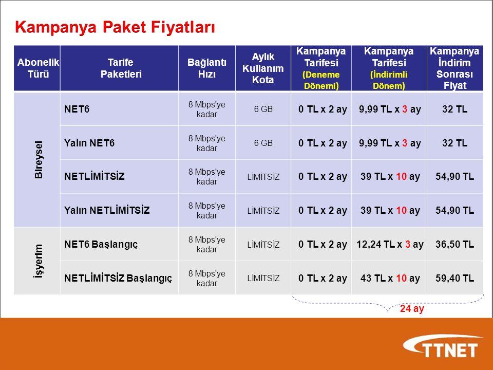 Abonelik Türü Tarife Paketleri Bağlantı Hızı Aylık Kullanım Kota Kampanya Tarifesi (Deneme Dönemi) Kampanya Tarifesi (İndirimli Dönem) Kampanya İndirim Sonrası Fiyat Bireysel NET6 8 Mbps ye kadar 6 GB 0 TL x 2 ay 9,99 TL x 3 ay32 TL Yalın NET6 8 Mbps ye kadar 6 GB 0 TL x 2 ay 9,99 TL x 3 ay32 TL NETLİMİTSİZ 8 Mbps ye kadar LİMİTSİZ 0 TL x 2 ay 39 TL x 10 ay54,90 TL Yalın NETLİMİTSİZ 8 Mbps ye kadar LİMİTSİZ 0 TL x 2 ay 39 TL x 10 ay54,90 TL İşyerim NET6 Başlangıç 8 Mbps ye kadar LİMİTSİZ 0 TL x 2 ay 12,24 TL x 3 ay36,50 TL NETLİMİTSİZ Başlangıç 8 Mbps ye kadar LİMİTSİZ 0 TL x 2 ay 43 TL x 10 ay59,40 TL 24 ay