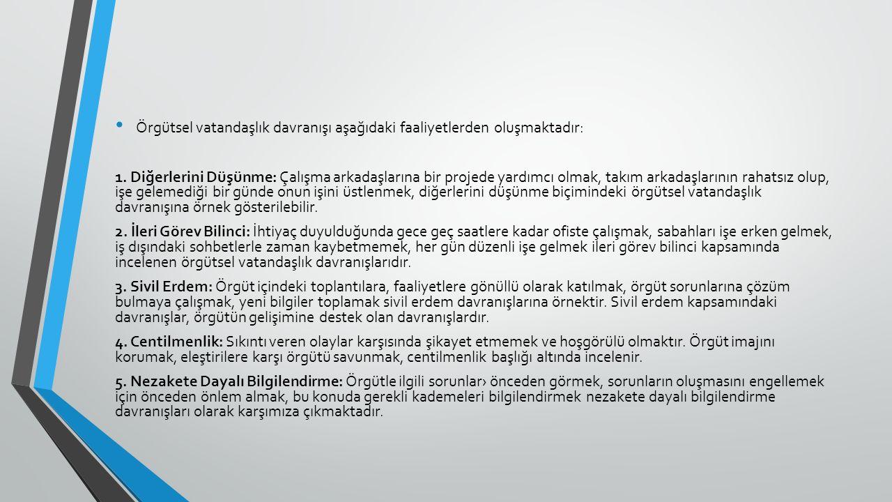 Örgütsel vatandaşlık davranışı aşağıdaki faaliyetlerden oluşmaktadır: 1.