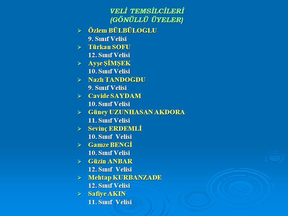VELİ TEMSİLCİLERİ (GÖNÜLLÜ ÜYELER)  Özlem BÜLBÜLOĞLU 9.