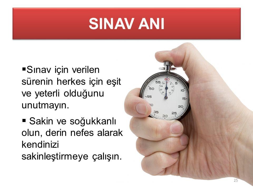 SINAV ANI  Sınav için verilen sürenin herkes için eşit ve yeterli olduğunu unutmayın.