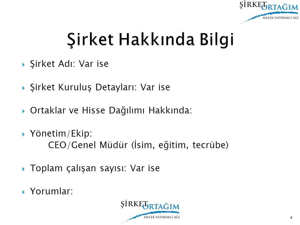  Şirket Adı: Var ise  Şirket Kuruluş Detayları: Var ise  Ortaklar ve Hisse Dağılımı Hakkında:  Yönetim/Ekip: CEO/Genel Müdür (İsim, eğitim, tecrüb