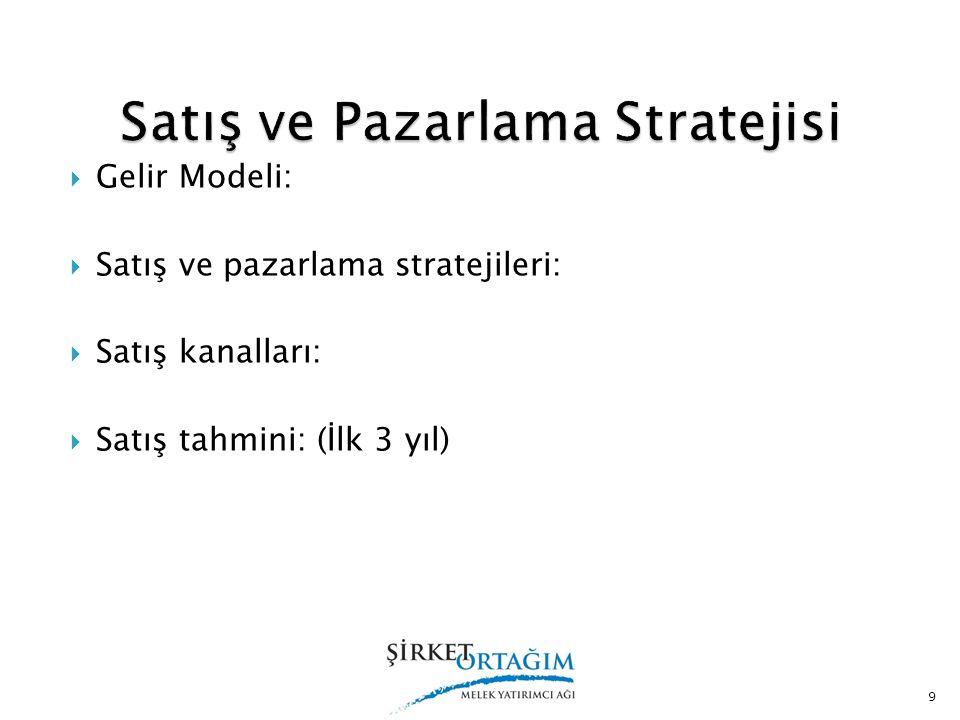  Gelir Modeli:  Satış ve pazarlama stratejileri:  Satış kanalları:  Satış tahmini: (İlk 3 yıl) 9