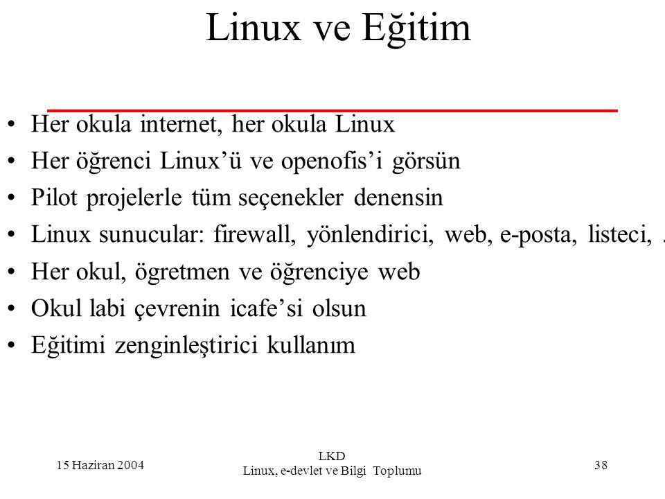 15 Haziran 2004 LKD Linux, e-devlet ve Bilgi Toplumu 38 Linux ve Eğitim Her okula internet, her okula Linux Her öğrenci Linux'ü ve openofis'i görsün Pilot projelerle tüm seçenekler denensin Linux sunucular: firewall, yönlendirici, web, e-posta, listeci,...