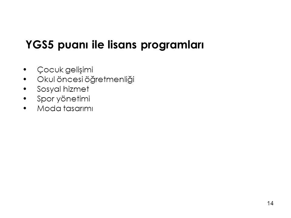 YGS5 puanı ile lisans programları Çocuk gelişimi Okul öncesi öğretmenliği Sosyal hizmet Spor yönetimi Moda tasarımı 14