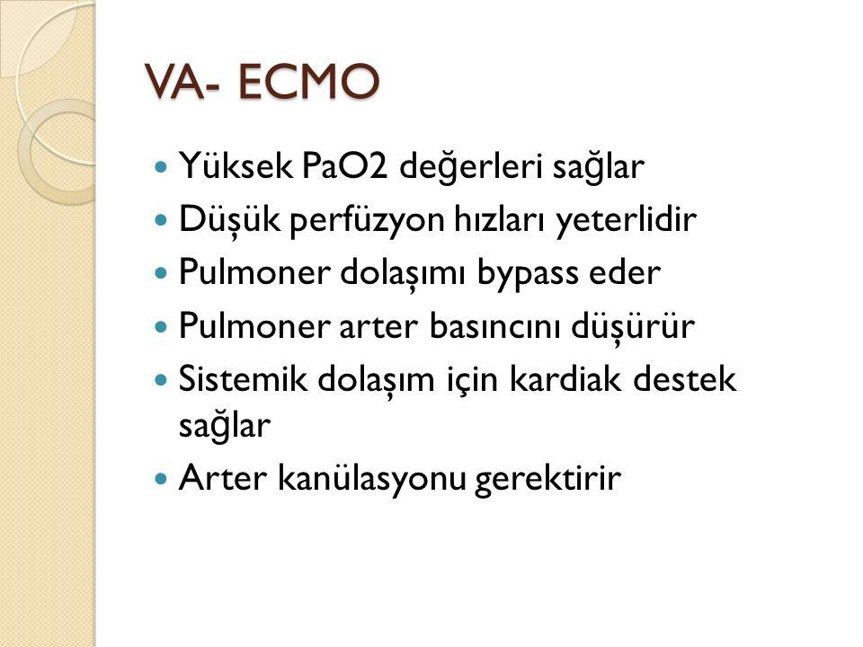 VA- ECMO Yüksek PaO2 de ğ erleri sa ğ lar Düşük perfüzyon hızları yeterlidir Pulmoner dolaşımı bypass eder Pulmoner arter basıncını düşürür Sistemik dolaşım için kardiak destek sa ğ lar Arter kanülasyonu gerektirir
