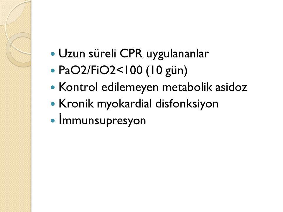 Uzun süreli CPR uygulananlar PaO2/FiO2<100 (10 gün) Kontrol edilemeyen metabolik asidoz Kronik myokardial disfonksiyon İ mmunsupresyon