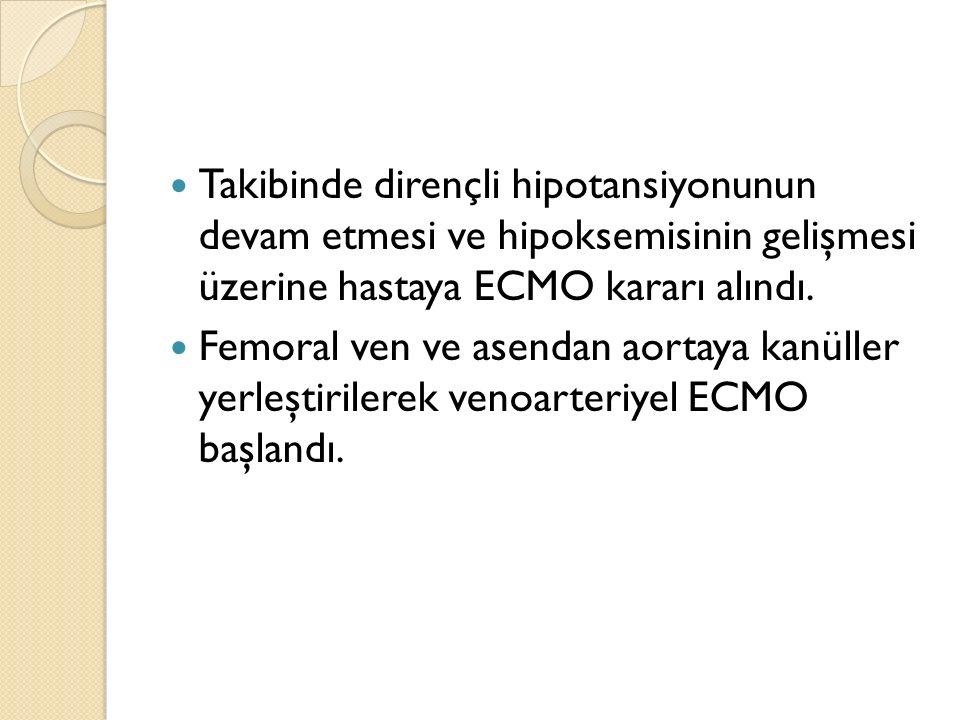 Takibinde dirençli hipotansiyonunun devam etmesi ve hipoksemisinin gelişmesi üzerine hastaya ECMO kararı alındı.