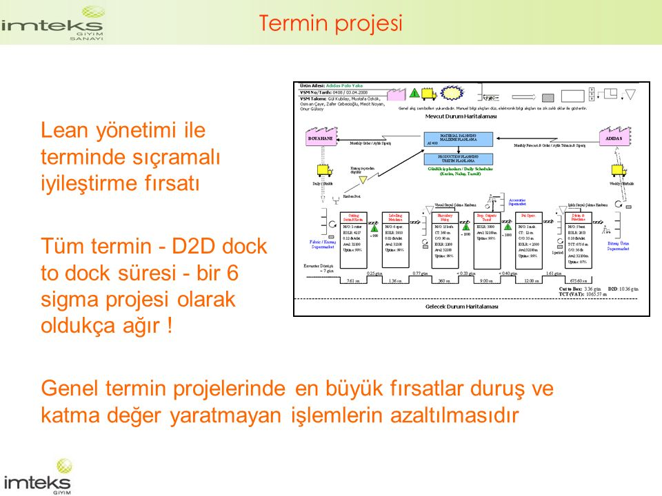 Termin projesi Lean yönetimi ile terminde sıçramalı iyileştirme fırsatı Tüm termin - D2D dock to dock süresi - bir 6 sigma projesi olarak oldukça ağır .