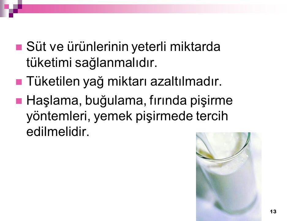13 Süt ve ürünlerinin yeterli miktarda tüketimi sağlanmalıdır.