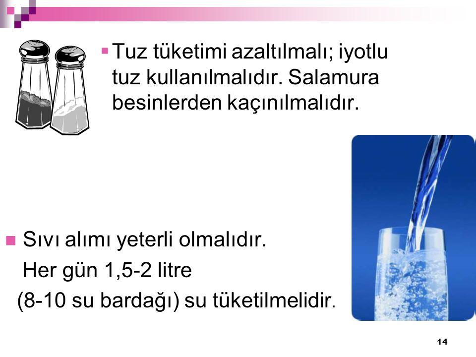 14  Tuz tüketimi azaltılmalı; iyotlu tuz kullanılmalıdır.