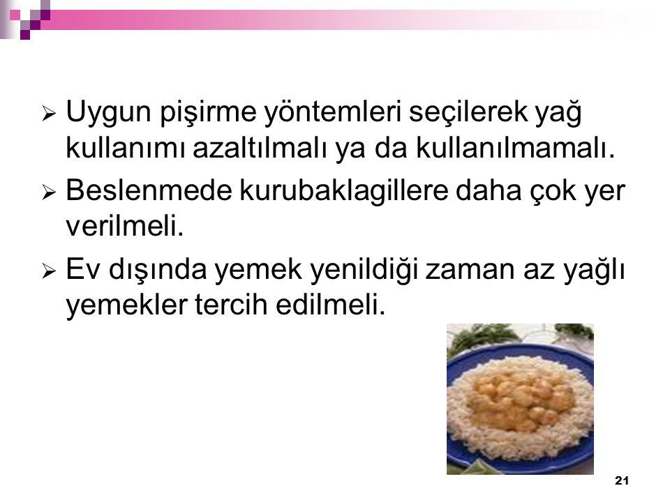 21  Uygun pişirme yöntemleri seçilerek yağ kullanımı azaltılmalı ya da kullanılmamalı.