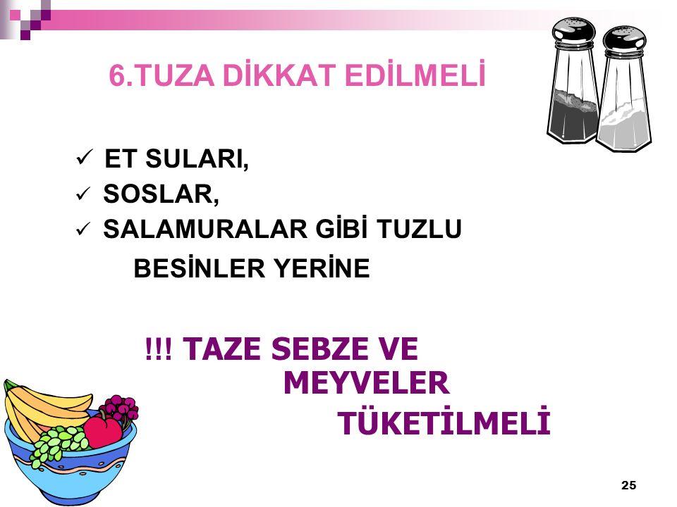 25 6.TUZA DİKKAT EDİLMELİ ET SULARI, SOSLAR, SALAMURALAR GİBİ TUZLU BESİNLER YERİNE !!.