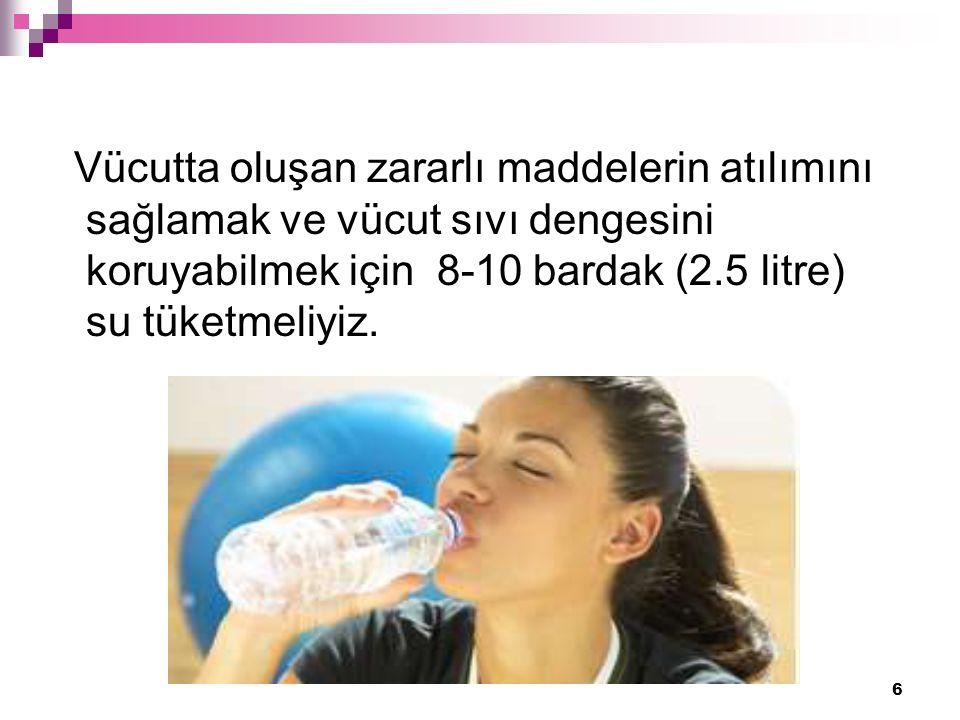 6 Vücutta oluşan zararlı maddelerin atılımını sağlamak ve vücut sıvı dengesini koruyabilmek için 8-10 bardak (2.5 litre) su tüketmeliyiz.