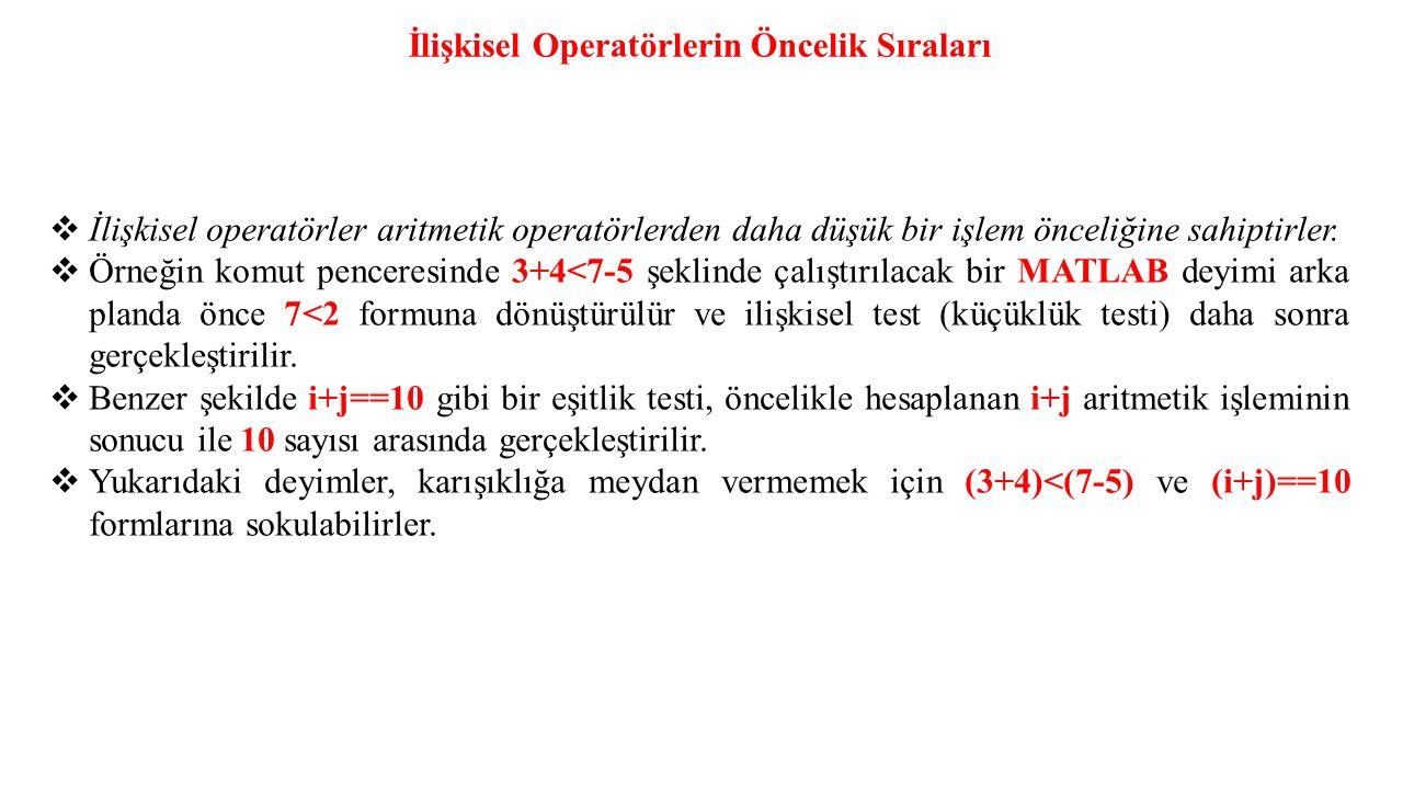 İlişkisel Operatörlerin Öncelik Sıraları  İlişkisel operatörler aritmetik operatörlerden daha düşük bir işlem önceliğine sahiptirler.