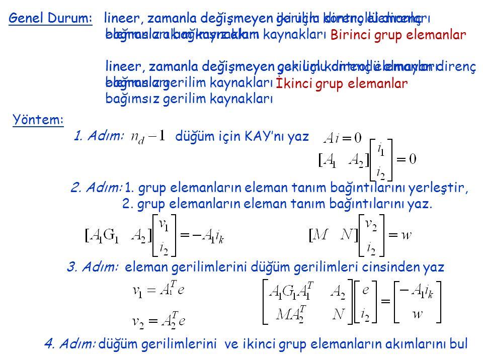 Genel Durum: lineer, zamanla değişmeyen gerilim kontrollü direnç elemanları bağımsız akım kaynakları lineer, zamanla değişmeyen gerilim kontrollü olmayan direnç elemanları bağımsız gerilim kaynakları Genel Durum: lineer, zamanla değişmeyen iki uçlu direnç elemanları bağımsız akım kaynakları lineer, zamanla değişmeyen çok uçlu direnç elemanları bağımsız gerilim kaynakları Birinci grup elemanlar İkinci grup elemanlar Yöntem: 1.