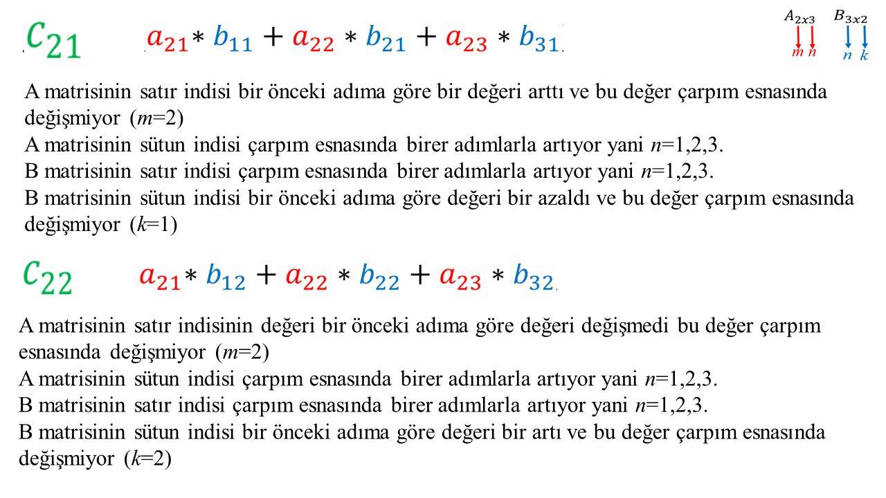 A matrisinin satır indisi bir önceki adıma göre bir değeri arttı ve bu değer çarpım esnasında değişmiyor (m=2) A matrisinin sütun indisi çarpım esnası