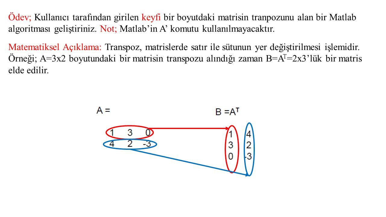 Ödev; Kullanıcı tarafından girilen keyfi bir boyutdaki matrisin tranpozunu alan bir Matlab algoritması geliştiriniz. Not; Matlab'in A' komutu kullanıl