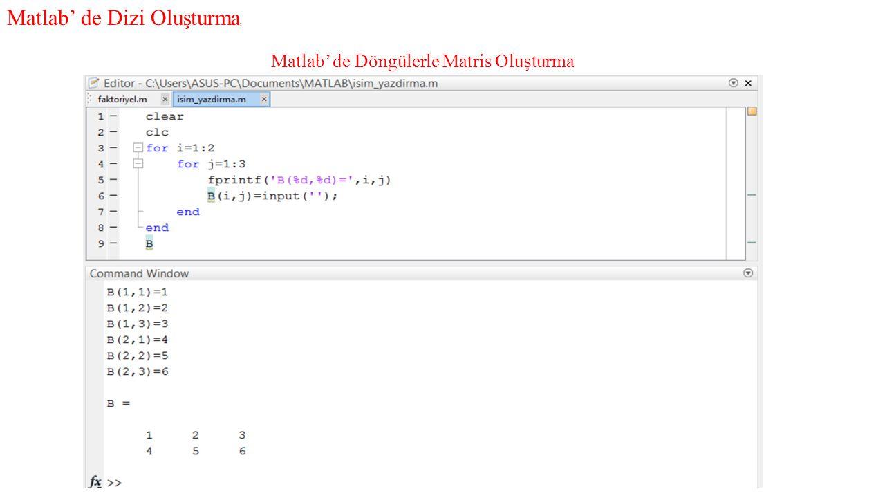 Ödev; Kullanıcı tarafından girilen keyfi bir boyutdaki matrisin tranpozunu alan bir Matlab algoritması geliştiriniz.