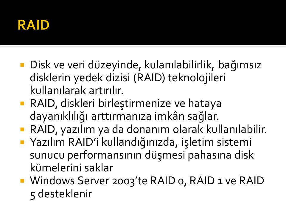  Disk ve veri düzeyinde, kulanılabilirlik, bağımsız disklerin yedek dizisi (RAID) teknolojileri kullanılarak artırılır.