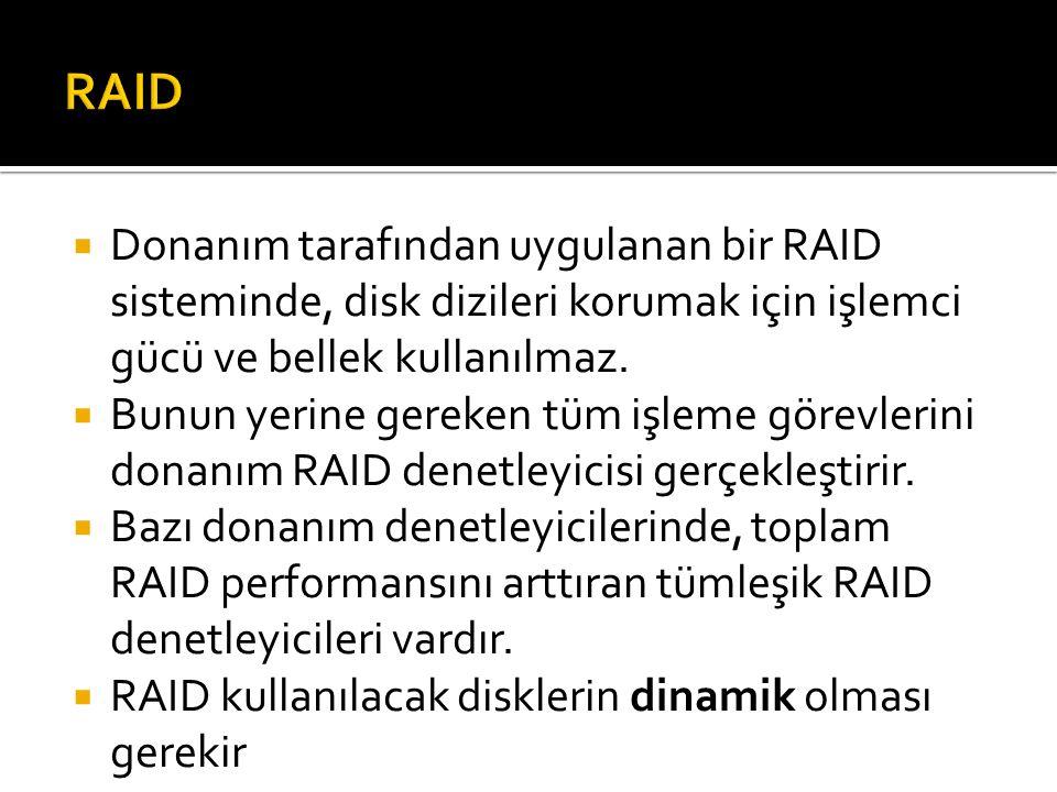 Donanım tarafından uygulanan bir RAID sisteminde, disk dizileri korumak için işlemci gücü ve bellek kullanılmaz.
