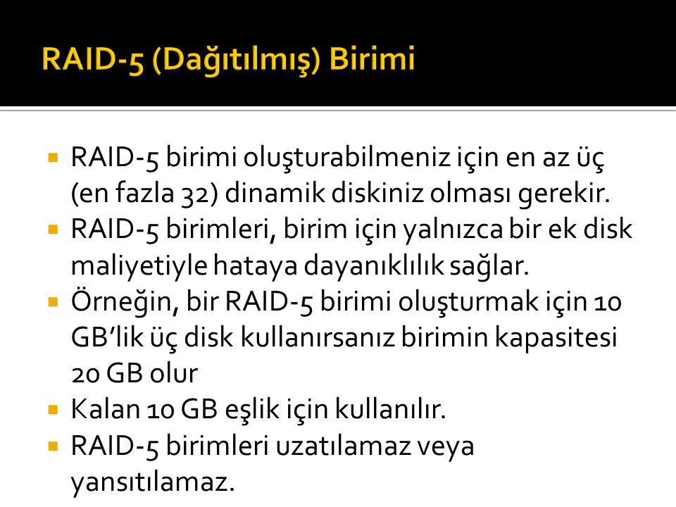  RAID-5 birimi oluşturabilmeniz için en az üç (en fazla 32) dinamik diskiniz olması gerekir.