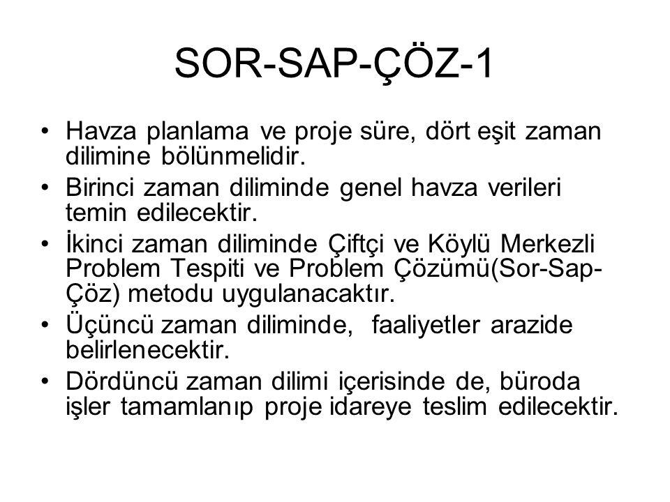 SOR-SAP-ÇÖZ-1 Havza planlama ve proje süre, dört eşit zaman dilimine bölünmelidir. Birinci zaman diliminde genel havza verileri temin edilecektir. İki