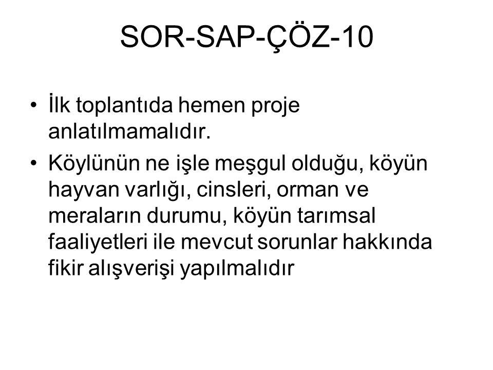 SOR-SAP-ÇÖZ-10 İlk toplantıda hemen proje anlatılmamalıdır. Köylünün ne işle meşgul olduğu, köyün hayvan varlığı, cinsleri, orman ve meraların durumu,