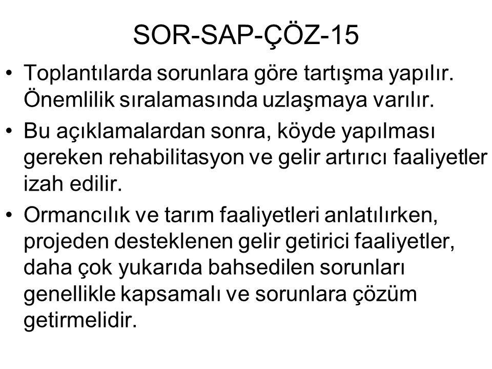 SOR-SAP-ÇÖZ-15 Toplantılarda sorunlara göre tartışma yapılır. Önemlilik sıralamasında uzlaşmaya varılır. Bu açıklamalardan sonra, köyde yapılması gere