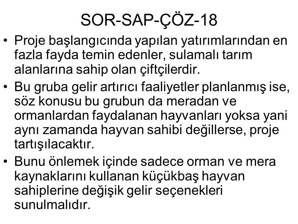 SOR-SAP-ÇÖZ-18 Proje başlangıcında yapılan yatırımlarından en fazla fayda temin edenler, sulamalı tarım alanlarına sahip olan çiftçilerdir. Bu gruba g