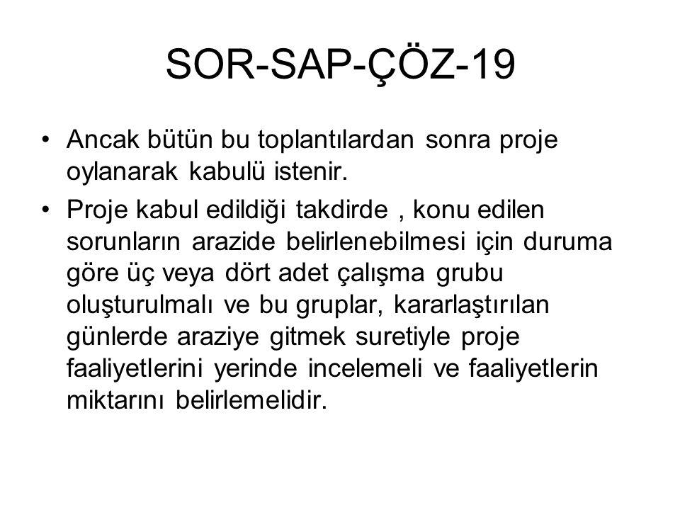 SOR-SAP-ÇÖZ-19 Ancak bütün bu toplantılardan sonra proje oylanarak kabulü istenir. Proje kabul edildiği takdirde, konu edilen sorunların arazide belir