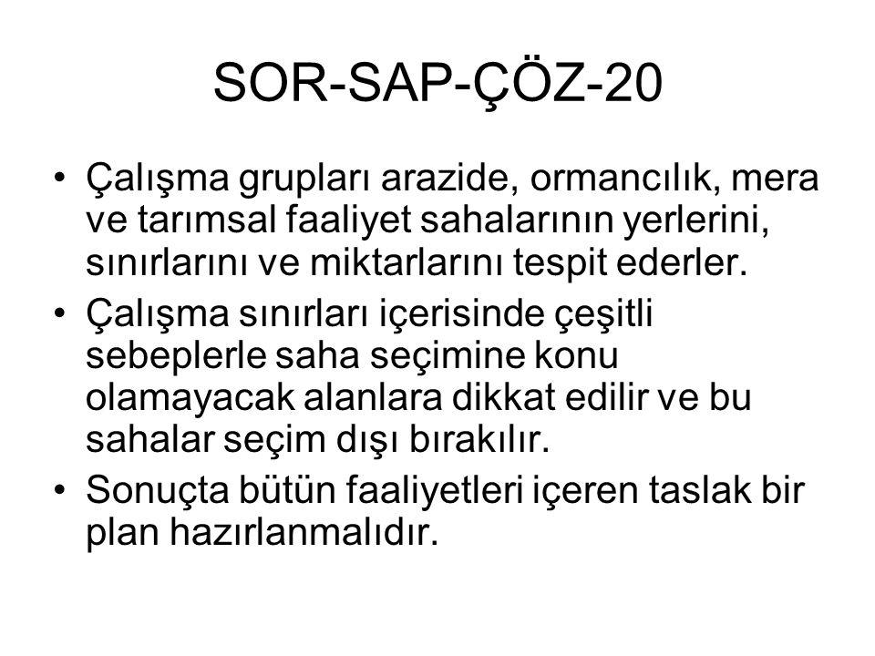 SOR-SAP-ÇÖZ-20 Çalışma grupları arazide, ormancılık, mera ve tarımsal faaliyet sahalarının yerlerini, sınırlarını ve miktarlarını tespit ederler.