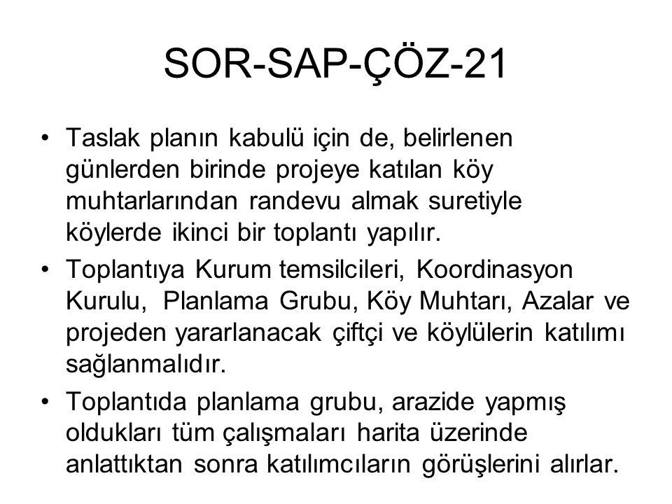 SOR-SAP-ÇÖZ-21 Taslak planın kabulü için de, belirlenen günlerden birinde projeye katılan köy muhtarlarından randevu almak suretiyle köylerde ikinci bir toplantı yapılır.