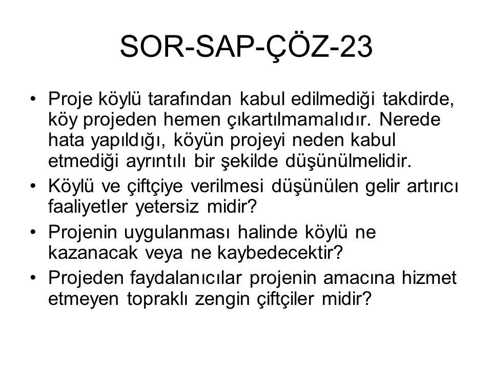 SOR-SAP-ÇÖZ-23 Proje köylü tarafından kabul edilmediği takdirde, köy projeden hemen çıkartılmamalıdır. Nerede hata yapıldığı, köyün projeyi neden kabu