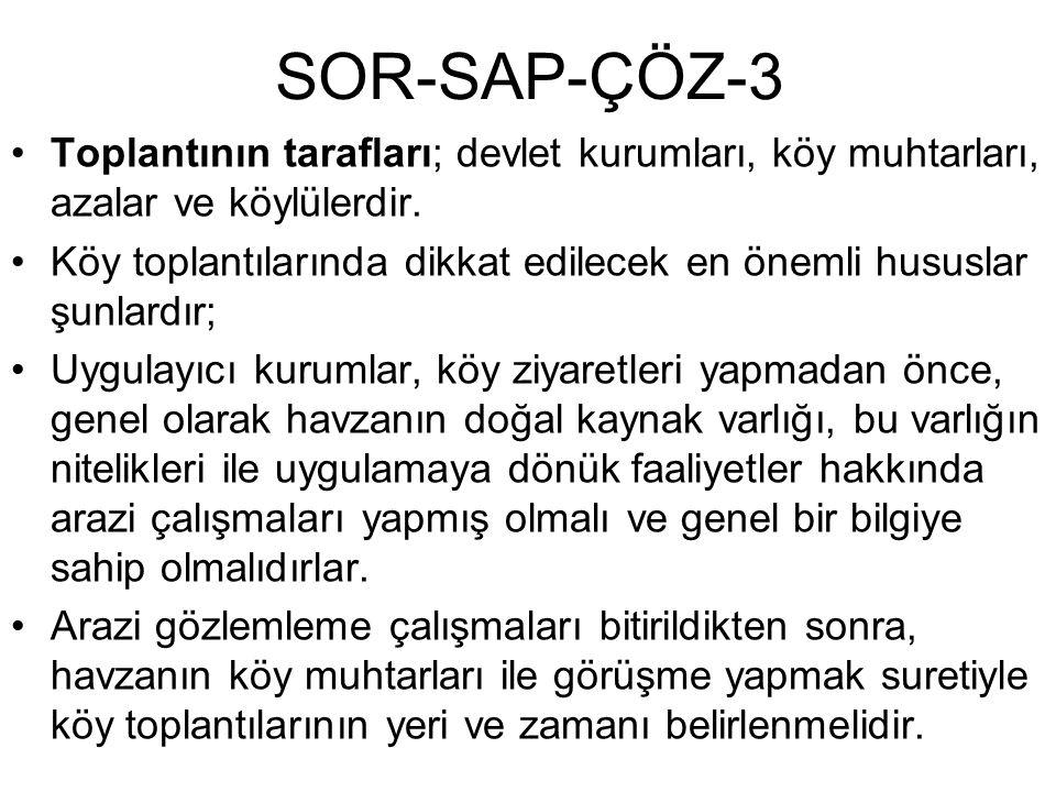 SOR-SAP-ÇÖZ-3 Toplantının tarafları; devlet kurumları, köy muhtarları, azalar ve köylülerdir. Köy toplantılarında dikkat edilecek en önemli hususlar ş