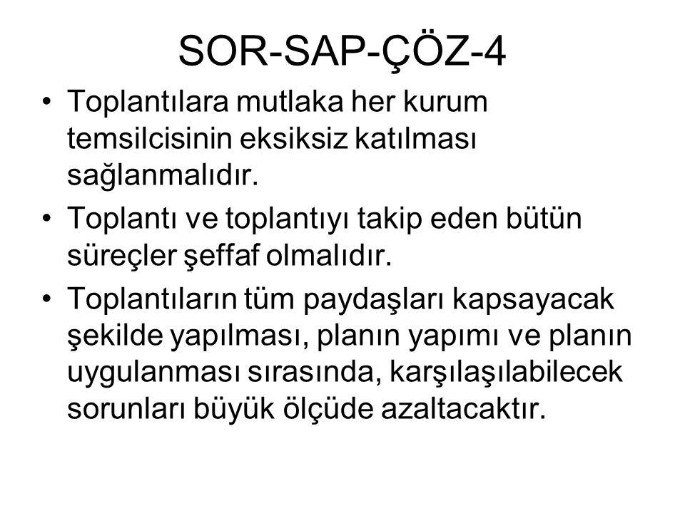SOR-SAP-ÇÖZ-4 Toplantılara mutlaka her kurum temsilcisinin eksiksiz katılması sağlanmalıdır. Toplantı ve toplantıyı takip eden bütün süreçler şeffaf o