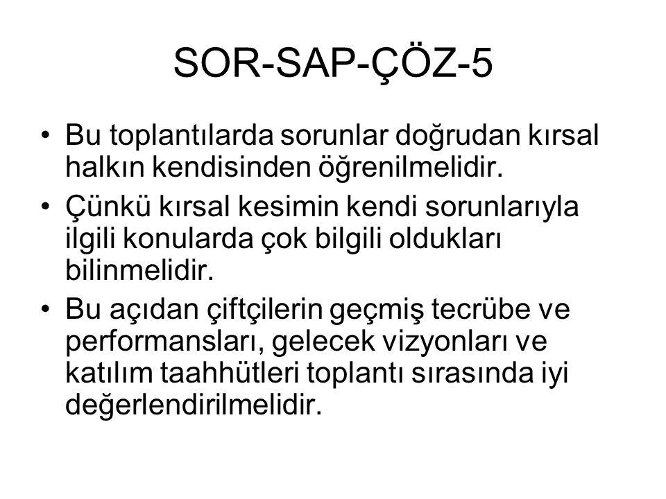 SOR-SAP-ÇÖZ-5 Bu toplantılarda sorunlar doğrudan kırsal halkın kendisinden öğrenilmelidir. Çünkü kırsal kesimin kendi sorunlarıyla ilgili konularda ço