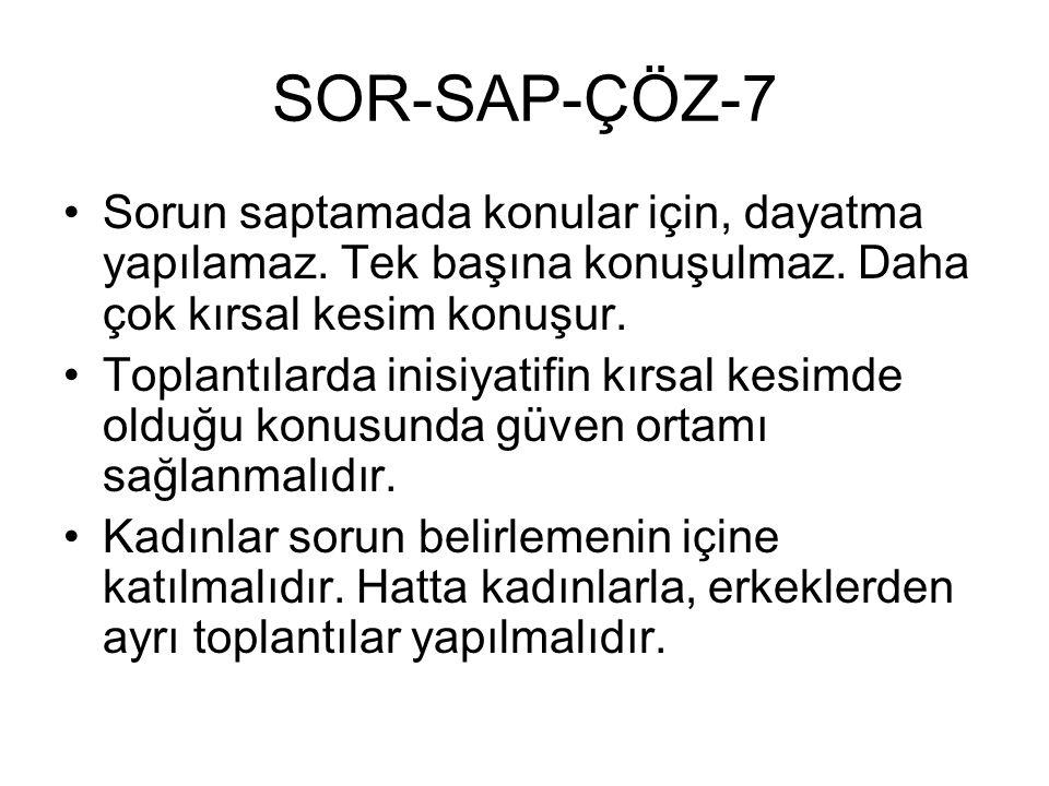 SOR-SAP-ÇÖZ-7 Sorun saptamada konular için, dayatma yapılamaz. Tek başına konuşulmaz. Daha çok kırsal kesim konuşur. Toplantılarda inisiyatifin kırsal