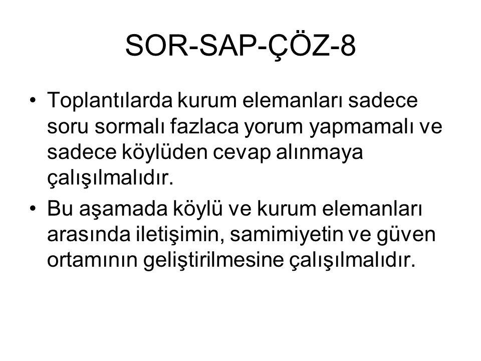 SOR-SAP-ÇÖZ-8 Toplantılarda kurum elemanları sadece soru sormalı fazlaca yorum yapmamalı ve sadece köylüden cevap alınmaya çalışılmalıdır. Bu aşamada