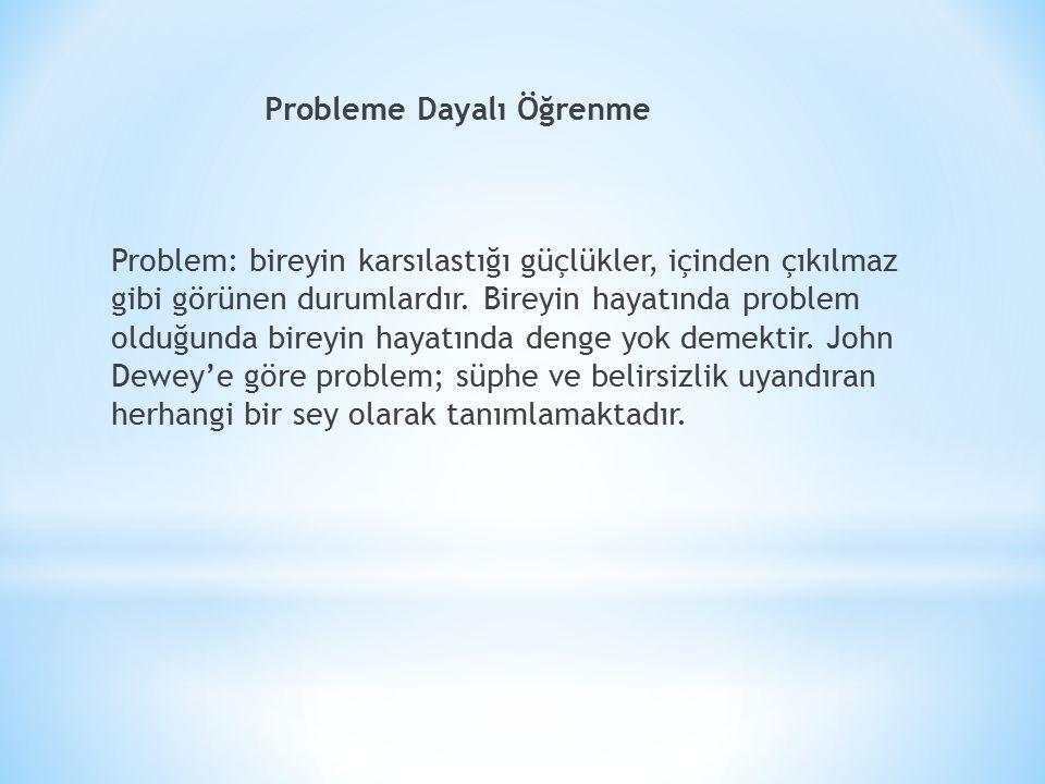 Probleme Dayalı Öğrenme Problem: bireyin karsılastığı güçlükler, içinden çıkılmaz gibi görünen durumlardır.