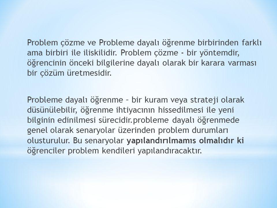 Problem çözme ve Probleme dayalı öğrenme birbirinden farklı ama birbiri ile iliskilidir.