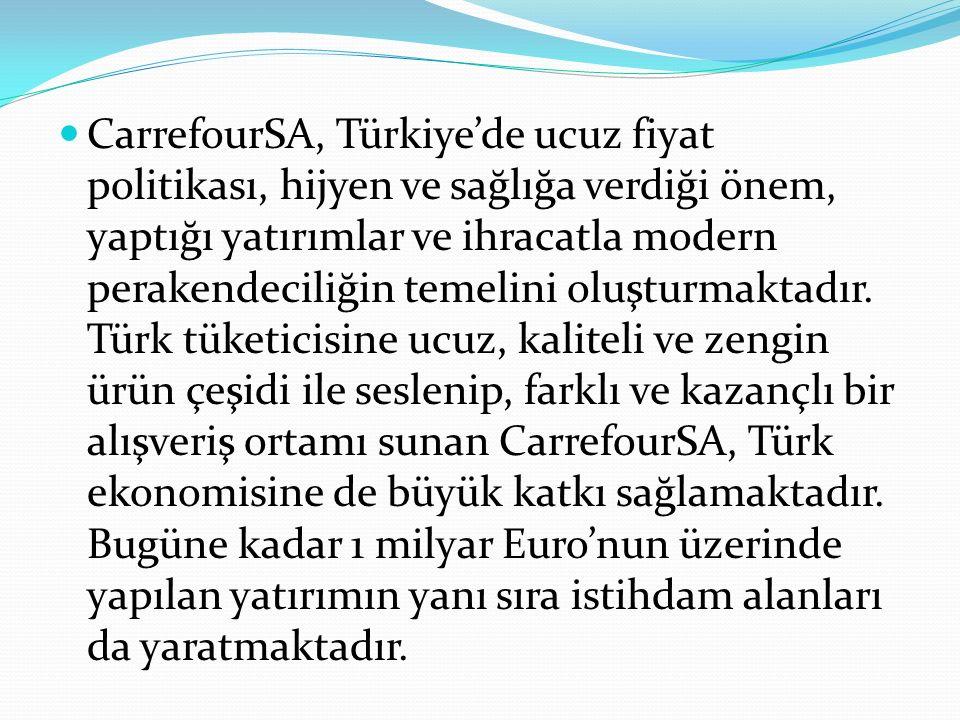 CarrefourSA, Türkiye'de ucuz fiyat politikası, hijyen ve sağlığa verdiği önem, yaptığı yatırımlar ve ihracatla modern perakendeciliğin temelini oluşturmaktadır.