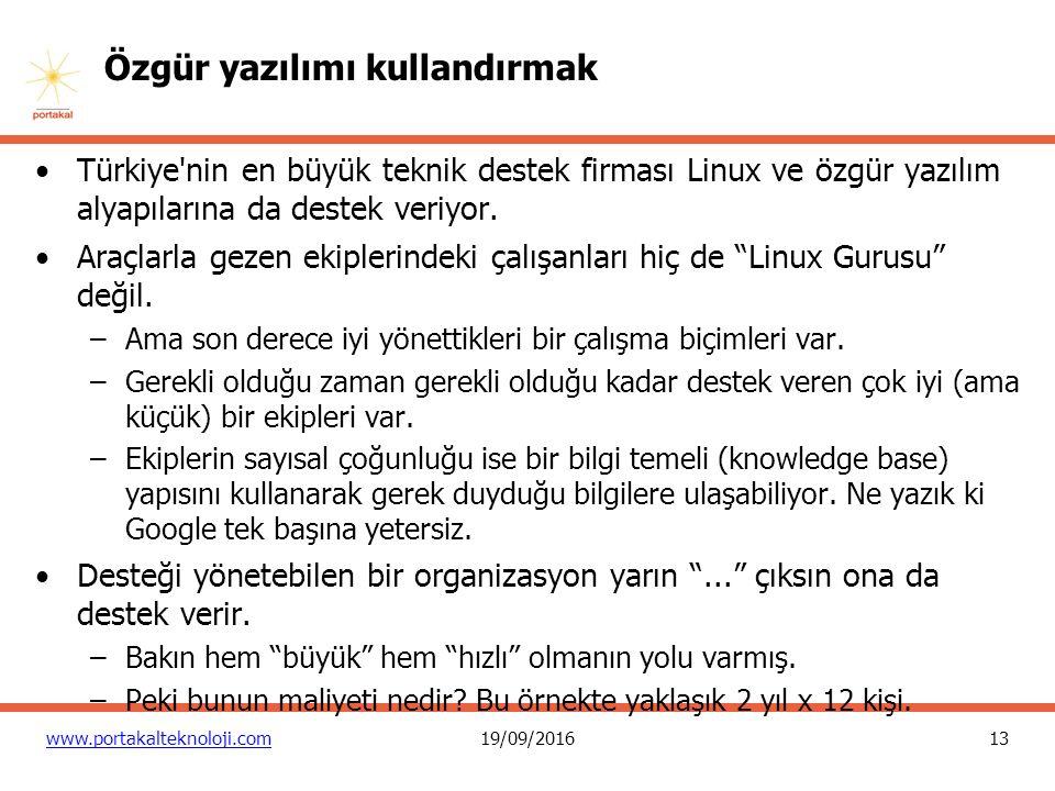 13 www.portakalteknoloji.com19/09/2016 Özgür yazılımı kullandırmak Türkiye'nin en büyük teknik destek firması Linux ve özgür yazılım alyapılarına da d