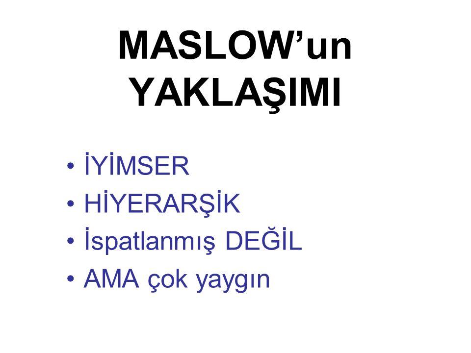 MASLOW'un YAKLAŞIMI İYİMSER HİYERARŞİK İspatlanmış DEĞİL AMA çok yaygın
