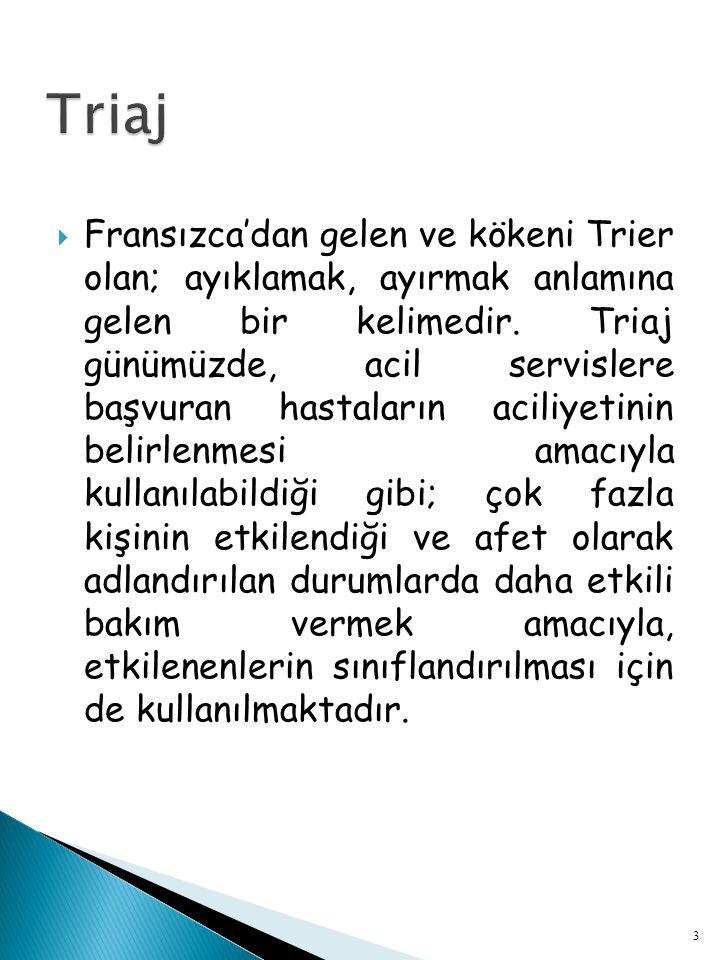  Acil servis deneyimli ve bu konuda özel eğitim almış hemşire tarafından gerçekleştirilen triaj, Türkiye'de henüz gerçek anlamda uygulanmamaktadır; zaten bu uygulama bizim konu alanımızın da dışındadır.