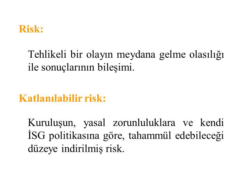Risk: Tehlikeli bir olayın meydana gelme olasılığı ile sonuçlarının bileşimi. Katlanılabilir risk: Kuruluşun, yasal zorunluluklara ve kendi İSG politi