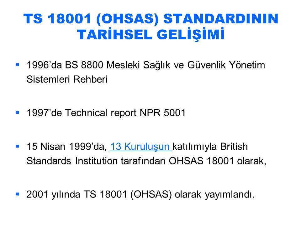 TS 18001 (OHSAS) Standardı 1.KAPSAM 2.ATIF YAPILAN STANDARDLAR 3.TERİMLER VE TARİFLER 4.İSG YÖNETİM SİSTEMİ UNSURLARI 4.1 GENEL ŞART 4.2 İSG POLİTİKASI 4.3 PLANLAMA 4.3.1 Tehlike Tanımlaması, Risk Değerlendirmesi ve Risk Kontrolü İçin Planlama 4.3.2 Yasal ve Diğer Şartlar 4.3.3 Hedefler 4.3.4 İSG Yönetimi Programları 4.4.UYGULAMA VE İŞLETME 4.4.1 Yapı ve Sorumluluk 4.4.2 Eğitim, Bilinç ve Yeterlilik 4.4.3 Danışma ve İletişim 4.4.4 Dokümantasyon 4.4.5 Doküman ve Veri kontrolü 4.4.6 İşletme Kontrolü 4.4.7 Acil Durum Hazırlığı ve Bu Hallerde Yapılması Gerekenler 4.5.